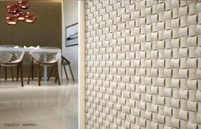 Parede de gesso 3d a onda do momento blog do gesseiro - Placas decorativas para pared interior ...